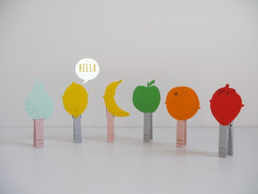 DIY fruits clothespins presentation