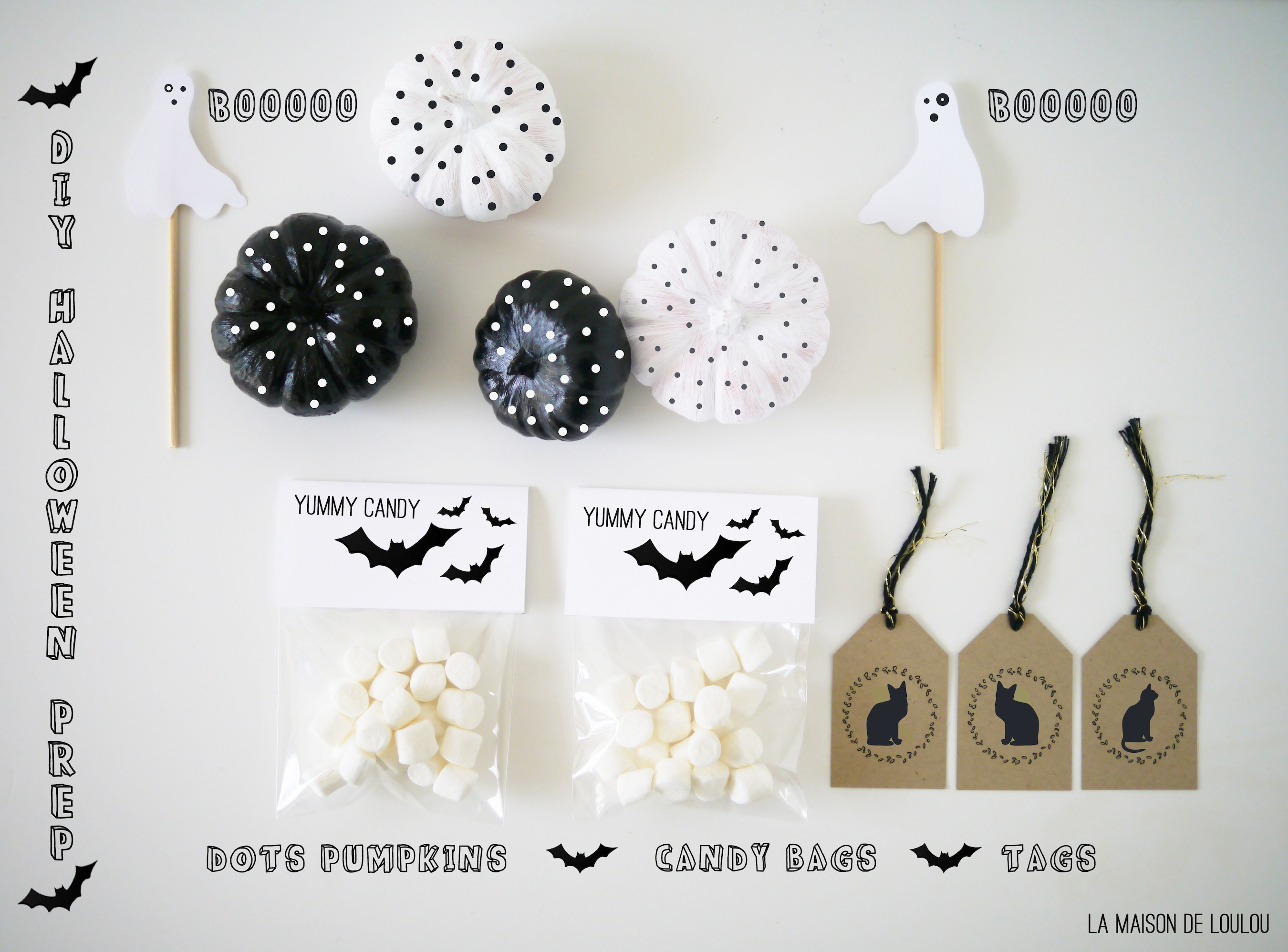 Diy Decoracion Halloween ~ Halloween DIY?s  Dots paint pumpkins, Candy bag, black cat tags