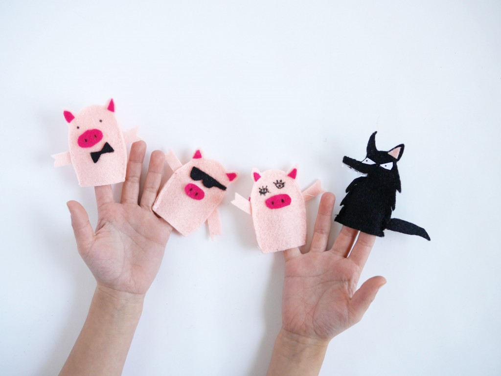 three little pigs u0026 mister wolf finger puppets the free templates
