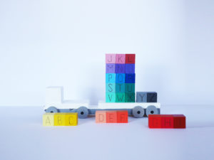 DIY RAINBOW WOODEN ABC BLOCKS AND TRUCK by LA MAISON DE LOULOU